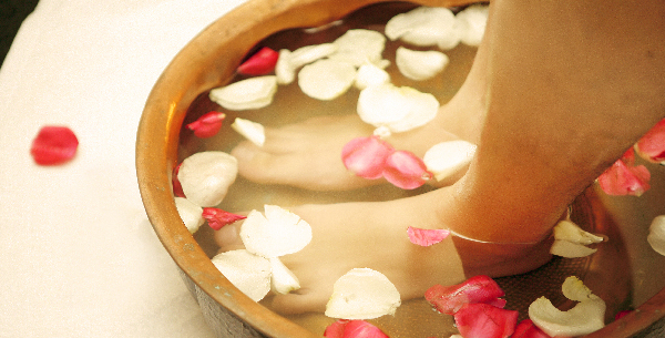Natural Foot Care with rose flowers spa